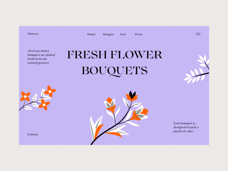 Flowers typography illustration colors shopping web interface design ui