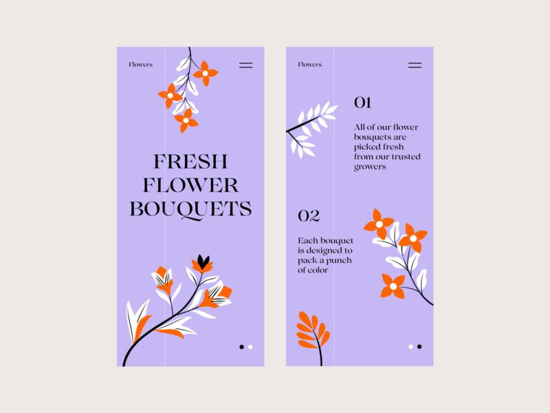 Flowers Responsive typography colors web illustration responsive interface design ui