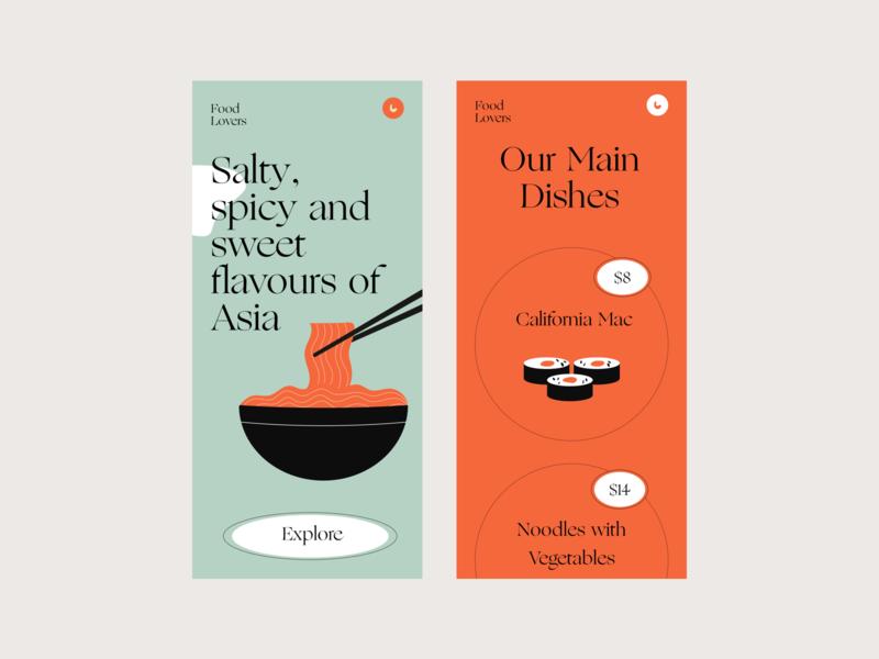 Food lovers branding vector app design typography app colors illustration interface design ui