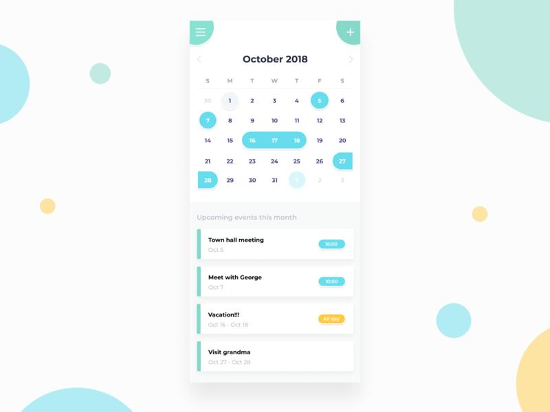 Calendar UI calendar dailyui ui