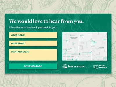 Harvestore — Contact Section Design
