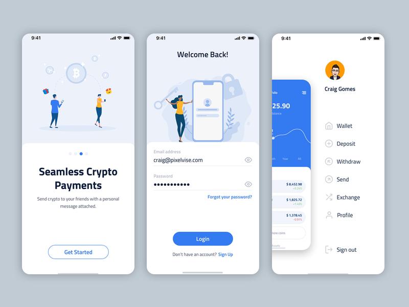 CryptoNet - Crytocurrency Wallet app design app design ui ux