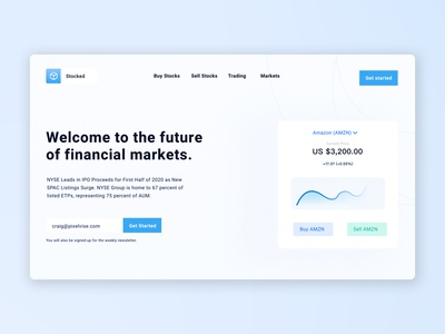 Stocked - Stock Trading Landing Page UI/UX logo illustration websites website web design branding web ux ui design