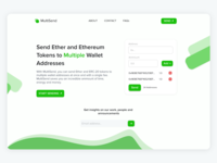 Landing Page for MultiSend. An Ethereum Dapp