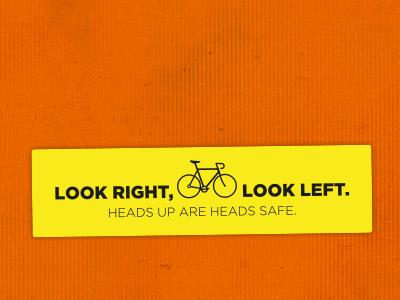Look Left Look Right sticker bike illustration