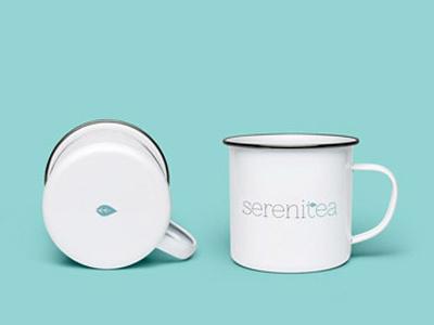 Serenitea enamel teal leaf logo branding brand mug tea