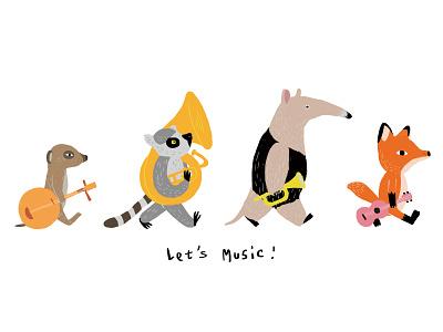 Let's Music abbey road drawing meerkat lemur anteater cute fox beatles music animal illustation