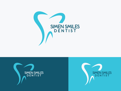 SIMEN SMILES DENTIST logo illustration design vector branding unique flat type modern minimalist logo