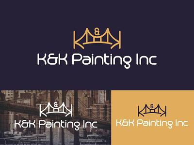 k&k painting inc bridge painting painting bridge vector branding unique type modern flat minimalist logo