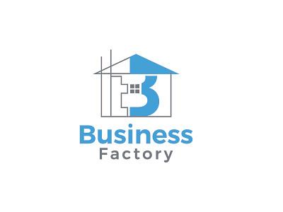 Business Factory construction branding unique type flat modern minimalist logo