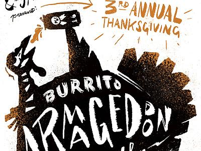 Burrito Armagedon type poster atlanta burrito thanksgiving race spindle