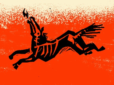 H E L L e s beer fire skeleton linocut hell branding texas illustration undead horse