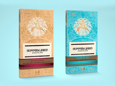 Hummingbird Chocolate small batch ornate dark chocolate canada illustration branding hummingbird dominican republic packaging chocolate