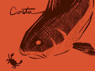 Redfish pattern typography illustration texture branding outdoors crab fishing redfish shirt apparel costa del mar