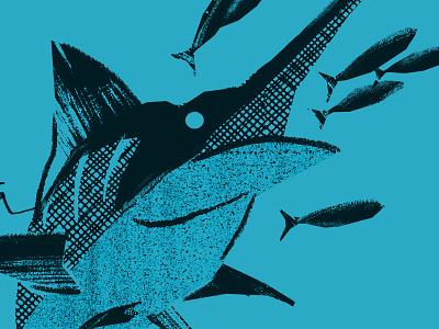 Marlin pattern typography illustration texture branding baitfish outdoors bait fishing marlin shirt apparel costa del mar