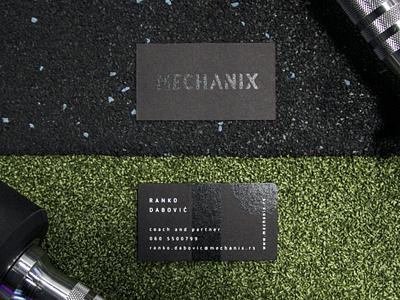 Mechanix visual identity fitness facility business cards stationery design print branding visual identity logo design creative direction