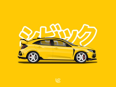 yellow r civic typer honda jdm carillustration illustration cars cardesign design vector