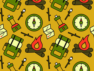 Camping Pattern vector stroke pattern nature outdoor camp camping