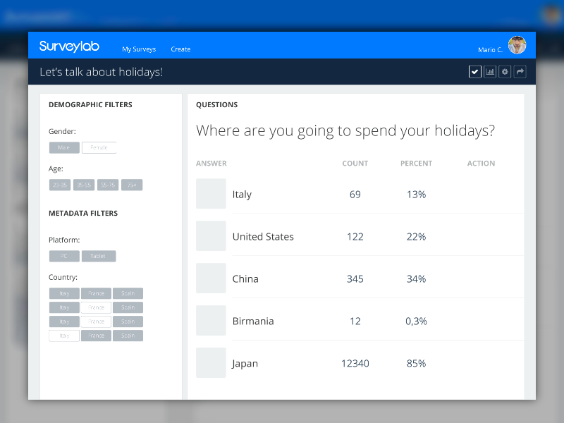 Survey answers results - Material Design flat colors interface material logo web ui ios survey made with invision