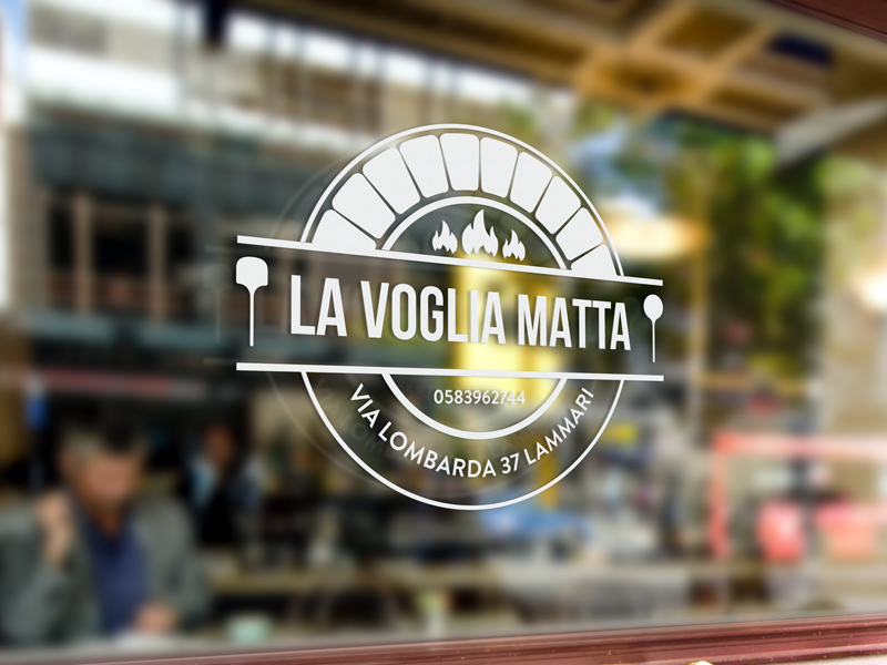 Italian Pizzeria mockup illustration identity pizza logo