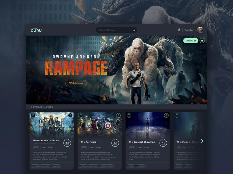 Movie Guru Dashboard web design layout the avengers web application info card movie