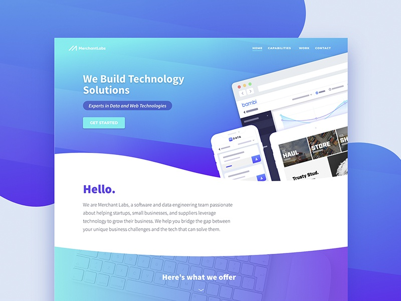 MerchantLabs.io     Home ux design technology website banner design svg ui web design