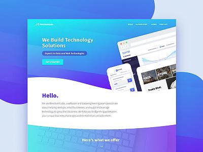 MerchantLabs.io  |  Home ux design technology website banner design svg ui web design