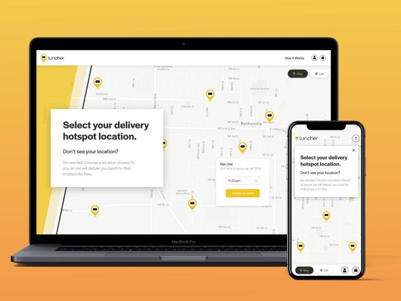 Luncher Hotspots yellow restaurant delivery lunch website ux design ux ui web design