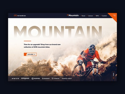 Mountain Bike Page Design banner home page navigation layout web design ux design ui design ui ux bike