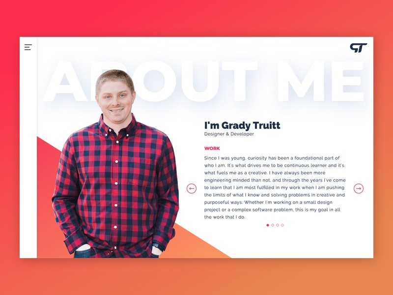 About Page - gradytruittdesigns.com website portfolio site portfolio about branding typography logo design animation ux layout ux design ui design ui web design