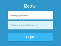 iZettle Login Screen