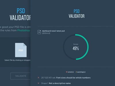 PSD Validator psd validator flat graphs error warning dark icon score gotham knockout cloud.typography