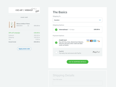 Tictail Checkout tictail checkout ecommerce store webshop payment shipping form animation gif