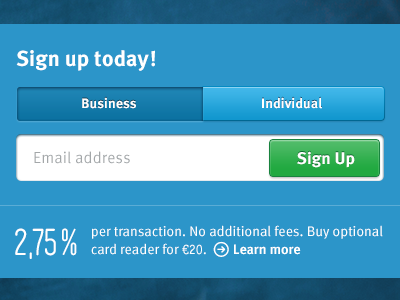 iZettle.com - Signup box izettle signup sign up register form payment pricing