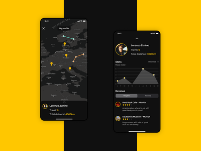 Travel app - Personal Profile dark chart ui ux dark theme dark mode dark ui ui profile design profile page profile travel travel app ui design dailyui concept
