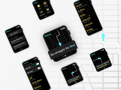 Bikeup | Smartwatch map app for rider 🚲 app design dailyui bike rider riding navigator flat concept clean ui  ux ui maps apple watch smartwatch figma ui design