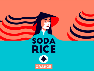 Soda Rice - Sticker and branding for soda flat typography logo design illustration icon oriental hat woman oranges rice ricefields branding sticker