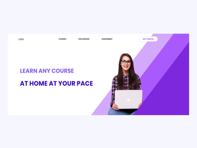 E-Learning ( Landing Page Interaction) banner design webdesign ui design minimalist design minimalist interaction design landing page design