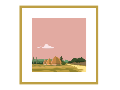 Cailbotte, Landscape Painting painting landscape illustration cloud pink yellow affiche drawing vector poster adobe illustrator illustration