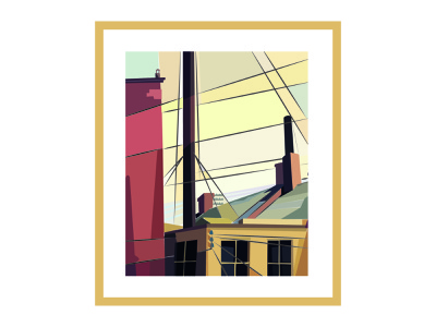 From the Garden of the Chateau painting house street architecture yellow poster vector design affiche drawing adobe illustrator illustration