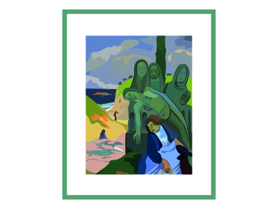 The Green Christ, Gauguin island nature painting brushes museum art paintings green painting poster drawing vector adobe illustrator illustration