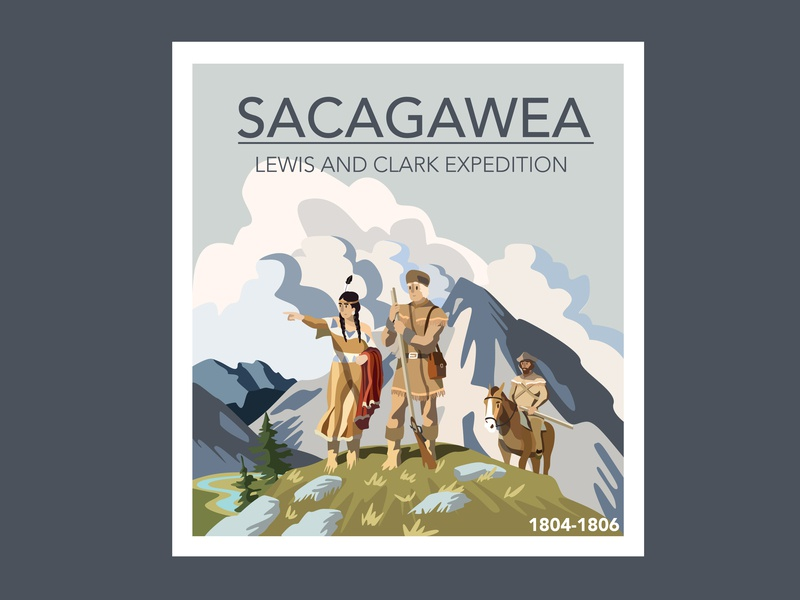 Sacagawea with Lewis and Clark tree cloud character art design pioneer native american vector artwork nature illustration mountain illustrator cc poster expedition