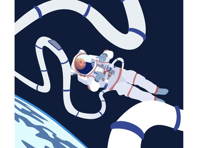 a man in space astronaut blue and white earth mars space vector adobe illustrator illustration