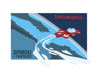 Spaceship project, Spirou et Fantasio print red blue comics post affiche drawing space vector illustration adobe illustrator earth poster