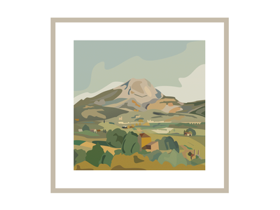 Cézanne, in small touches with illustrator painter color poster painting mountain vector affiche board illustration adobe illustrator