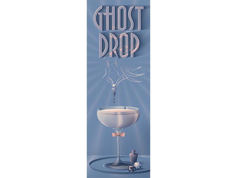 Ghost Drop vector artwork vector poster halloween graphic design drink design deco dark libation beverage art deco