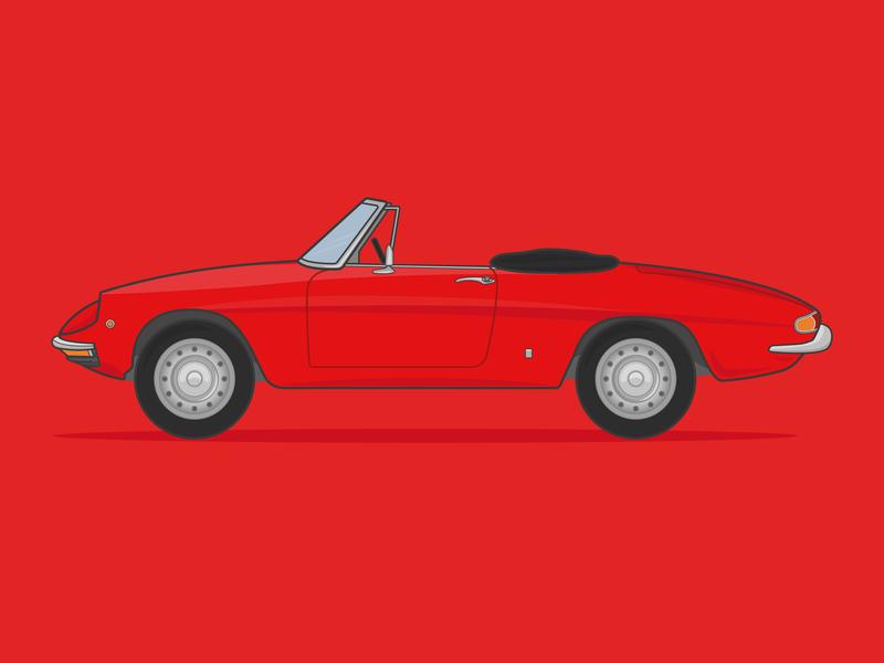 1966 Alfa Romeo 1600 Duetto Spider spider alpha romeo alpha flat vector flat  design print design adobe vector car vector illustration vector artwork illustrator illustration design graphic design