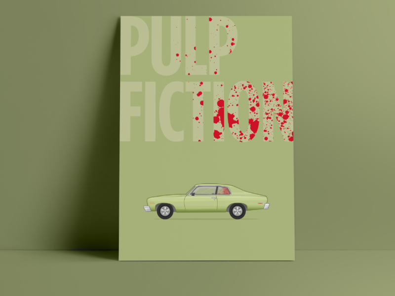 """""""Oh man I shot Marvin in the face"""" Pulp Fiction print pulp fiction movie poster pulp fiction poster movie poster pulp fiction illustration chevy illustration chevy nova pulp fiction print pulp fiction"""