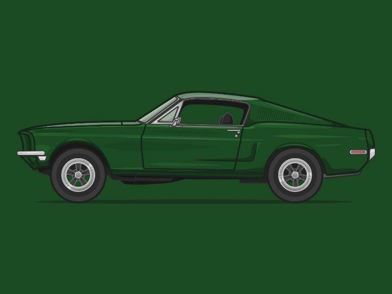 Ford Mustang Fastback movies car illustration illustration bullitt poster movie poster movie car mustang illustration mustang ford mustang ford steve mcqueen bullitt
