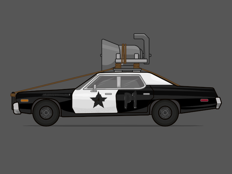 Bluesmobile from The Blues Brothers cars on film movie car car illustration police car dodge monaco bluesmobile blues brothers